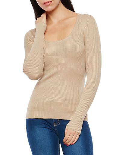 Rib Knit Scoop Neck Sweater,KHAKI,large