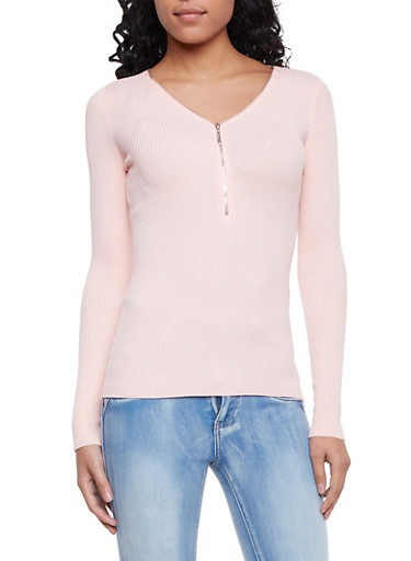 Ribbed Sweater with Zippered V Neck,BLUSH,large
