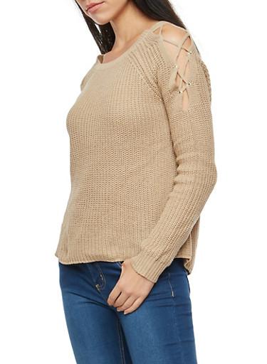 Lace Up Cold Shoulder Sweater,KHAKI,large