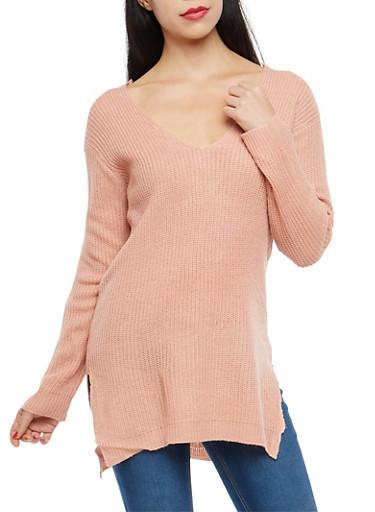 Caged V Back Sweater,MAUVE,large