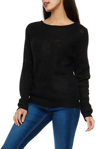 Caged Back Waffle Knit Sweater,BLACK,large