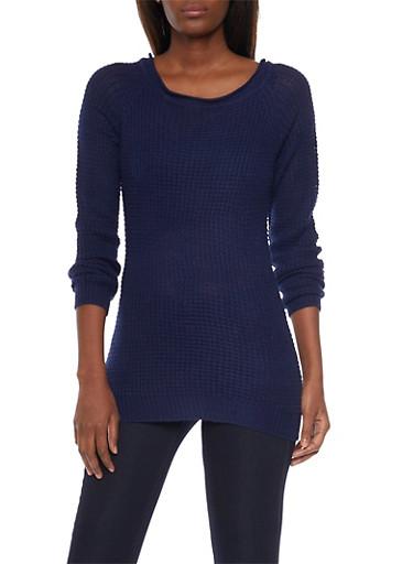 Waffle Knit Chunky Sweater,NAVY,large