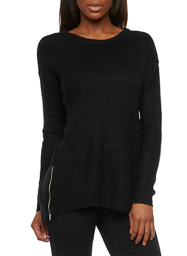 Oversized Crew Neck Sweater with Zipper Accent,BLACK,large