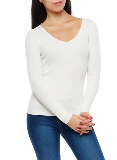 Long Sleeve Rib Knit Sweater,IVORY,large