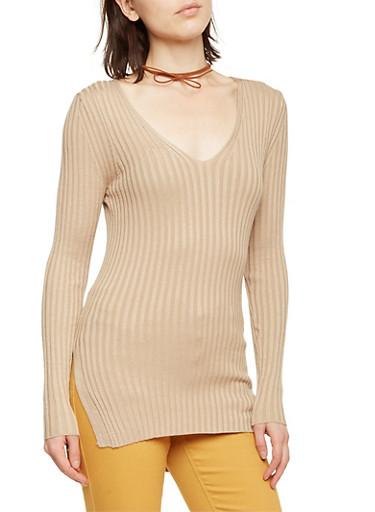 Rib Knit V Neck Sweater,KHAKI,large
