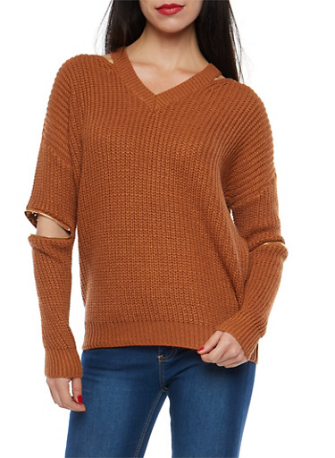 Chunky Knit Elbow Zip Sweater,CAMEL,large