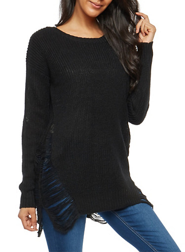 Distressed Sides Knit Sweater,BLACK,large