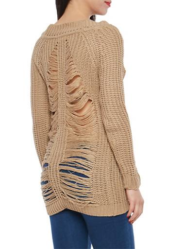 Slashed Back Chunky Knit Sweater,TAN,large