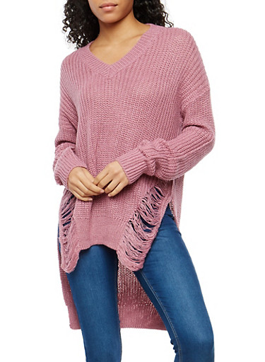 Destroyed High Low Knit Sweater,MAUVE,large