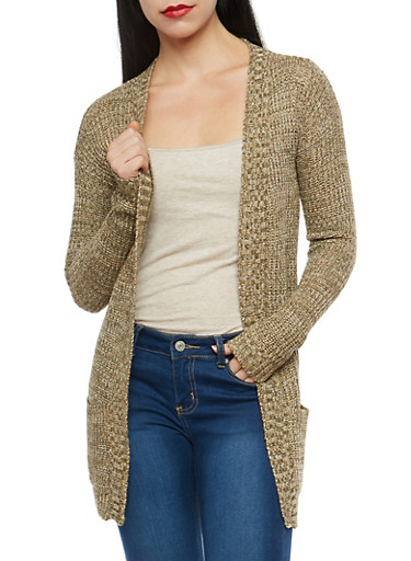 Two Tone Open Front Knit Cardigan,OLIVE,large