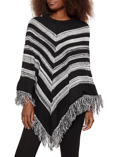 Striped Fringe Poncho,BLACK,large