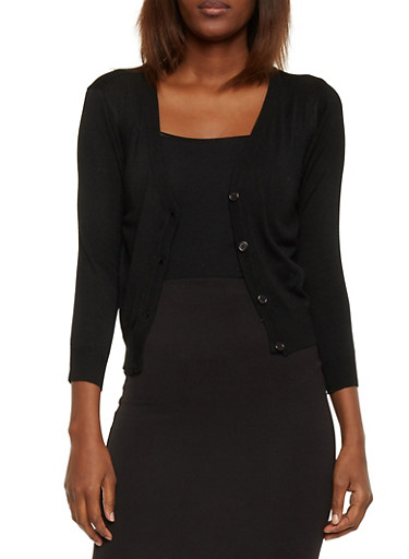 3/4 Sleeve Cardigan with Buttons,BLACK,large