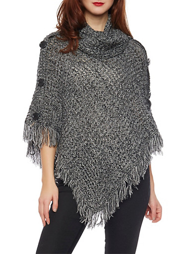 Asymmetrical Poncho with Fringe Trim,BLACK,large