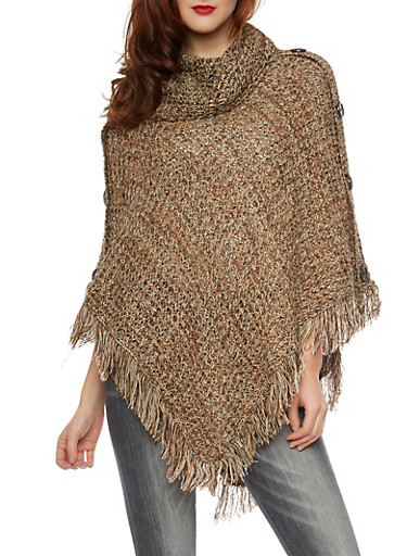 Asymmetrical Poncho with Fringe Trim,BROWN,large