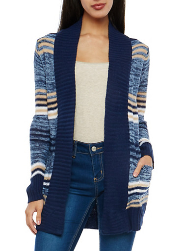 Striped Open Front Cardigan,NAVY,large