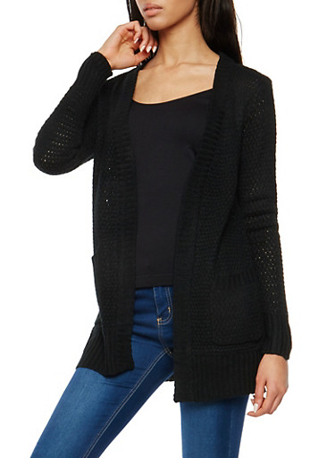 Chunky Knit Open Front Cardigan,BLACK,large