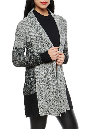 Heavy Knit Open Front Cardigan,GRAY,large