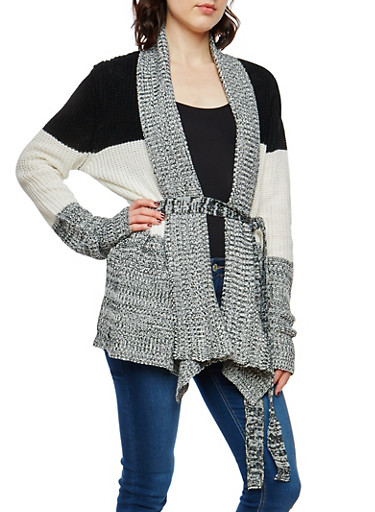 Striped Shawl Collar Knit Cardigan,IVORY,large
