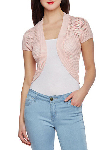 Open Stitch Cropped Cocoon Cardigan,BLUSH,large