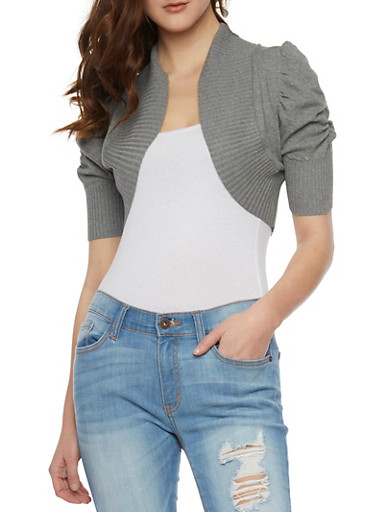 Open Front Cropped Shrug Cardigan,HEATHER,large