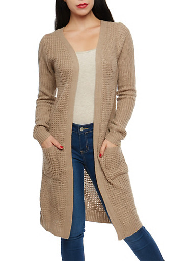Chunky Knit Open Front Duster,KHAKI,large