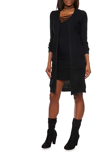 Open Front Waffle Knit Duster with Pockets,BLACK,large