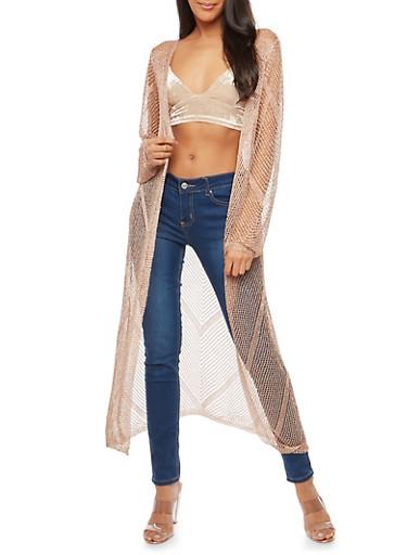 Metallic Knit Duster,ROSE GOLD,large