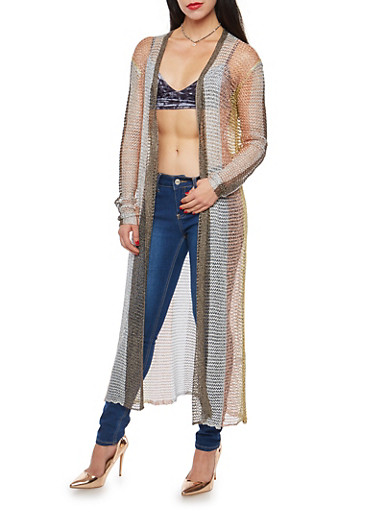 Multi Color Striped Metallic Mesh Knit Duster,MULTI COLOR,large