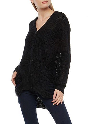 Distressed High Low Button Front Cardigan,BLACK,large