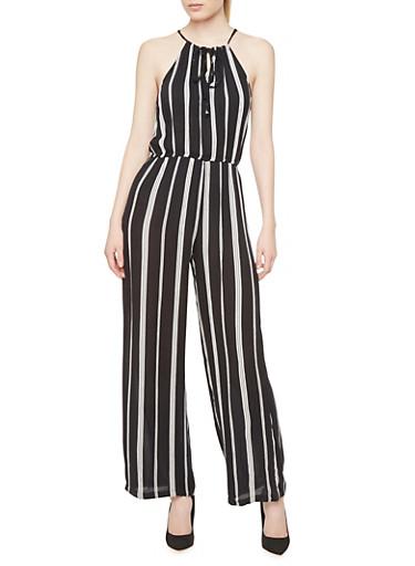 Semi-Sheer Plus Size Striped Jumpsuit,BLACK/WHITE,large