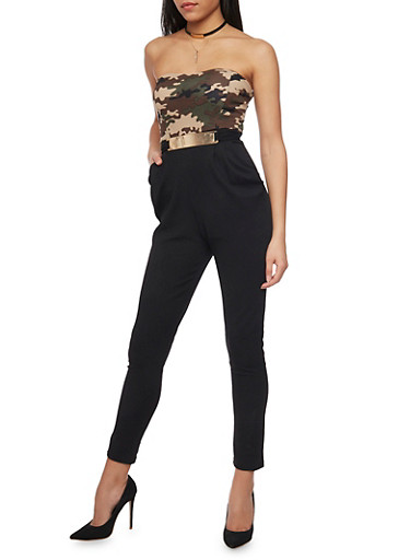 Strapless Half Camouflage Jumpsuit with Metal Buckle Detail,CAMOUFLAGE,large