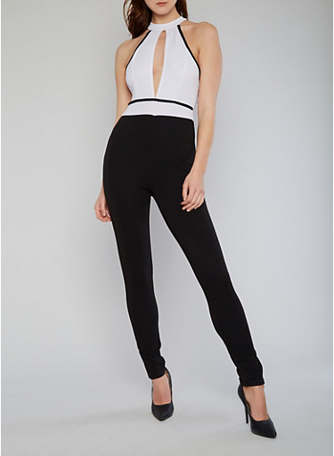 Sleeveless Choker Keyhole Jumpsuit with Open Back,WHT-BLK,large