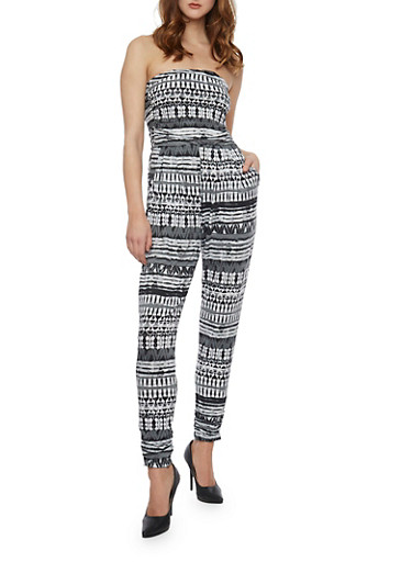 Strapless Printed Jumpsuit,BLACK/WHITE,large