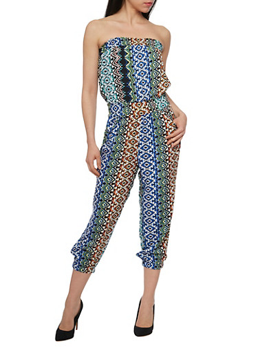Printed Strapless Capri Jumpsuit with Smocked Waist,NAVY/BLUE MULTI,large