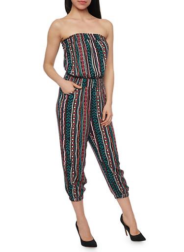 Strapless Printed Capri Jumpsuit,JADE/PNK/SALMON,large