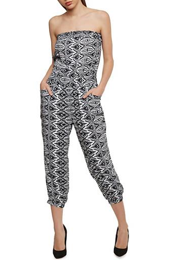 Strapless Printed Capri Jumpsuit,BLACK/WHITE,large