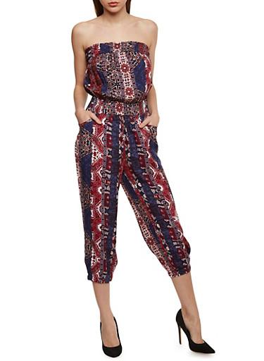 Strapless Printed Capri Jumpsuit with Smocked Waist,DENIM/RUST,large