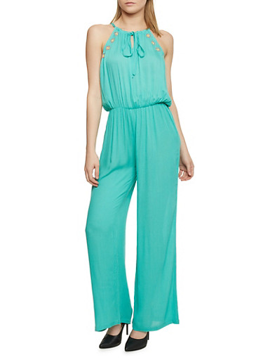Embroidered Tie Neckline Gauze Knit Jumpsuit,JADE,large