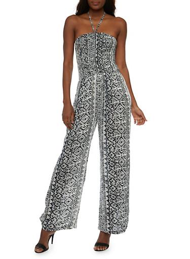 Printed Halter Jumpsuit,BLACK/WHITE,large