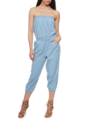 Strapless Chambray Cropped Jumpsuit,LIGHT WASH,large