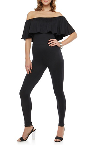 Soft Knit Off the Shoulder Ruffled Catsuit,BLACK,large