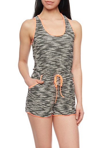 Woven Knit Sleeveless Marled Romper with Neon Trim,CORAL,large