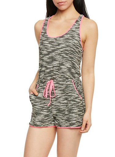 Woven Knit Sleeveless Marled Romper with Neon Trim,NEON PINK,large