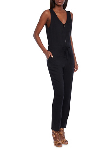 Sleeveless Jumpsuit with Zipper Front and Drawstring Waist,BLACK,large