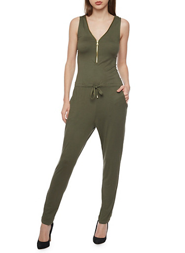 Solid Sleeveless Zip Jumpsuit,OLIVE,large