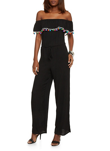 Ruffled Off The Shoulder Crinkle Knit Jumpsuit with Pom Pom Trim,BLACK,large