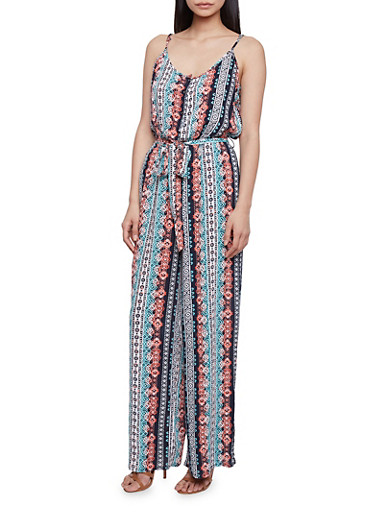 Printed Spaghetti Strap Jumpsuit with Tie Belt,MINT,large