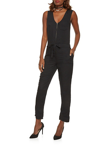 Sleeveless Zip Front Jumpsuit with Drawstring Waist,BLACK,large