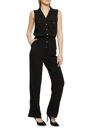 Sleeveless Button Front Jumpsuit,BLACK,large