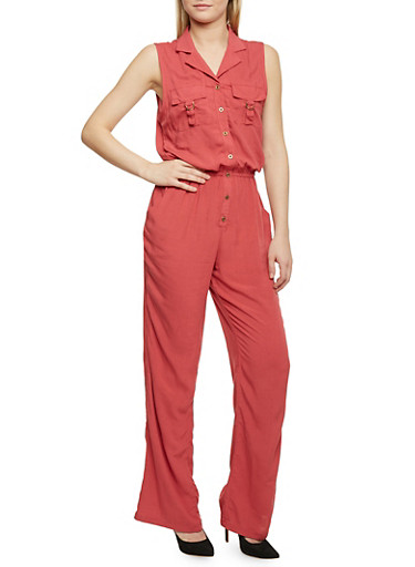 Sleeveless Button Front Jumpsuit,ROSE,large
